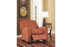 """The Gale Recliner from Ashley Furniture HomeStore (AFHS.com). With the sweeping contemporary flared arm design surrounded by soft feel of the rich toned upholstery fabric, the """"Gale-Russet"""" upholstery collection creates a warm inviting atmosphere perfect for any living area while giving the comfort you deserve."""