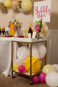Pineapple Themed Bridal Shower by Hey Girl Events.  Love how they used our honeycombs in the bubbly bar!  Find more honeycomb colors at shop-fancythat.com