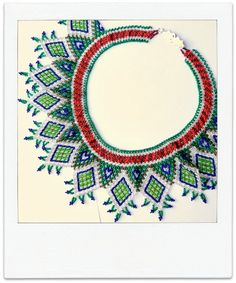 XOCHIL VERDE METALLIC Mexican Huichol Hand-Beaded Tribal Collar Necklace with Silver Clasp. $125.00, via Etsy.