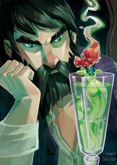 Eleonore Della Malva  : Absinthe is done ! Green Fairy Absinthe, Pot Pourri, Fantasy Illustration, Expo, Deviant Art, Illustrations, Faeries, Fantasy Art, Art Drawings