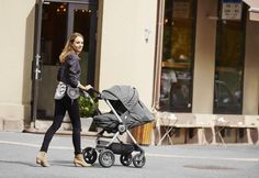 For your life on the go, there's the Stokke Scoot stroller --  two-way facing seat w/ multiple recline options & a softbag accessory too for a newborn baby