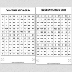 Concentration Grid app www.concentrationgrid.com - focus grid a/k/a concentration grid (concentration grids a/k/a mental focus grids for students, athletes, coaches, sports performance/psychology professionals, trainers, teachers, parents, etc.) ... grid game exercise to assess, practice, develop focus/attention skills and for competitive challenge and fun