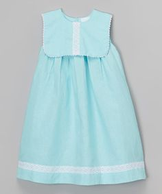 Look at this Aqua Linen-Blend Dress - Infant, Toddler & Girls on #zulily today!
