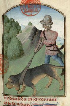 From a manuscript containing Gaston Phébus' Livre de la Chasse (Hunting Book) created in France before 1476. Paris, Bibliothèque Mazarine, MS. 3717, fol. 037.