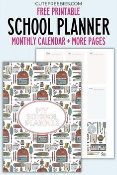Student Planner Printable, School Planner, Free Printable Calendar, Teacher Planner, Printable Letters, Printable Cards, Free Printables, Planner Pages, Weekly Planner