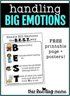 Handling BIG Emotions with B.E.S.T. - This Reading Mama Emotions Preschool, Emotions Activities, Social Skills Activities, Therapy Activities, Emotional Child, Social Emotional Learning, Feelings And Emotions, Negative Emotions, School Stress