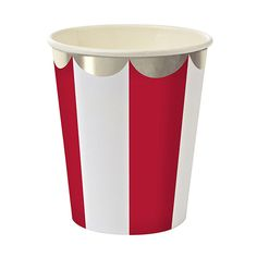Meri Meri Red Stripe Cups Pk8. Valentines Day tableware. Available on our website.