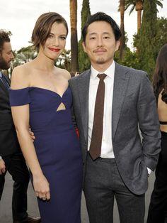 Actors Lauren Cohan and Steven Yeun attend as AMC presents 'Talking Dead Live' for the premiere of 'The Walking Dead.'