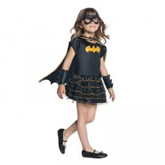 The Child's Batgirl Tutu Dress Set from Rubie's is a super cute superhero costume for girls. It comes with a black dress with flutter sleeves, and a sparkly Batman logo on the front.
