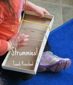 DIY Musical Strummies by Teach Preschool goes hand-in-hand with Josh Selig's book, Red and Yellow's Noisy Night - Think of a different instrument for kid with allergy Preschool Music Activities, Preschool Lessons, Preschool Activities, Teach Preschool, Preschool Gymnastics, Homemade Musical Instruments, Diy Instrument, Music And Movement, Music For Kids