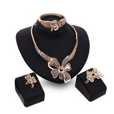 Vintage Butterfly  african beads jewelry set Collar Statement Necklace Earrings Bracelet Ring Women casamento Accessories S0121