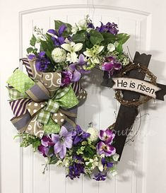 Easter Wreath, Floral Easter Wreath, Grapevine Wreath, Easter Grapevine, He Has Risen, Cross Wreath, Easter Decor, Spring Decor, Cross Decor