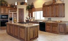 Stained kitchen cabinets – Kitchen cabinet design – Old kitchen cabinets – New kitchen cabinets - topnotch. Hickory Kitchen Cabinets, Stained Kitchen Cabinets, Above Kitchen Cabinets, Kitchen Cabinet Styles, Mirror Cabinets, Bathroom Cabinets, Soapstone Kitchen, Kitchen Countertops, New Kitchen