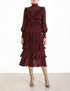 The Espionage Lace Panel Dress in Mahogany from our Fall 2019 Ready To Wear Collection. A textured stripe midi dress featuring gathered ruffles, lace insert trims and tiered skirt for volume and movement. silk, textured stripe midi dress, fitted through Australian Fashion Designers, Dress Cake, Panel Dress, Spring Dresses, Fashion 2020, Cheap Dresses, Ruffle Dress, Designer Dresses, Ready To Wear