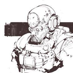 warm up #cyborg #armor #conceptart #game