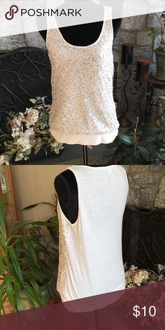 Cute cream colored top with sequins by express Cute cream colored sequin top by express express Tops Tank Tops