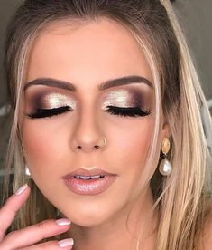 55 Stunning Makeup Ideas for Fall and Winter - makeup looks, wedding makeup, makeup looks for prom, natural makeup looks, wedding makeup looks for - Wedding Eye Makeup, Wedding Makeup For Brown Eyes, Prom Eye Makeup, Winter Wedding Makeup, Romantic Wedding Makeup, Gold And Brown Eye Makeup, Brown Wedding Hair, Wedding Nails For Bride Natural, Natural Prom Makeup For Brown Eyes