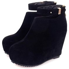Women Zipper Buckle High heel Shoes Suede Pumps Platform Leather Ankle Boots >>> Click image for more details. (This is an affiliate link and I receive a commission for the sales) #Pumps
