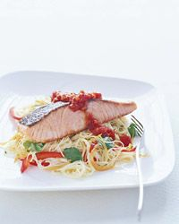 Roasted Salmon with Tomato Jam Recipe on Food & Wine Chef Way Pino Maffeo's noodle salad gets flavor from dried shrimp and a tomato jam made with fresh tomatoes and Thai chiles.