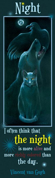 Black cat, dog and raven under a full moon.