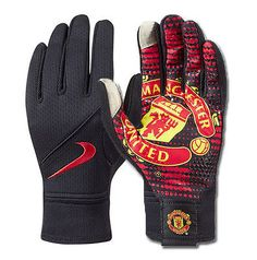 NIKE MANCHESTER UNITED FIELD PLAYER GLOVES TRAINING SOCCER 2014/15 Black/Red/Red