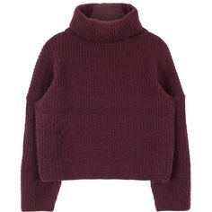Funnel Neck Knit Sweater ($31) ❤ liked on Polyvore featuring tops, sweaters, crop top, jumpers, bunny sweater, purple knit sweater, purple sweater and cropped knit sweater