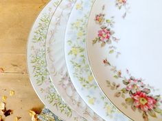 Mismatched China Dinner Plates by LittleDixieVintage on Etsy
