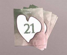 Watercolor Dusty Pink Green Wedding & Event Table Numbers