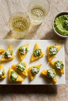 Broiled Polenta Bites with Green Harissa and Feta Recipe