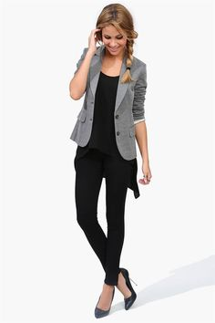 Looks like CAbi ponte leggings, Easy Tunic, and Jet Set Jacket.  Or Half and Half Jacket from last fall.  www.BarbaraLuke.cabionline.com