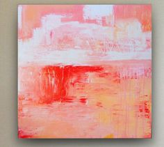 30X30 large pink abstract painting acrylic by FreehouseCollective