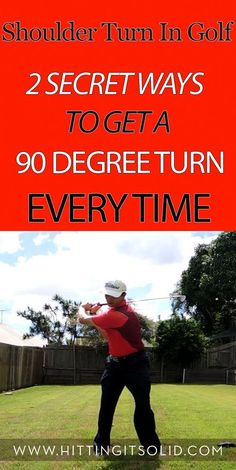 Golf Swing Drills Learn how to make a full 90 degree shoulder turn in golf every time with 2 simple drills that work every time. Golf Basics, Golf Handicap, Golf Etiquette, Golf Practice, Golf Videos, Golf Drivers, Golf Instruction, Golf Exercises, Men Workouts