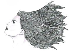 Crazy zentangle portraits hair.  Zentangle Portrait Drawing | Art Lesson Ideas