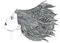 Crazy zentangle portraits hair. Zentangle Portrait Drawing   Art Lesson Ideas