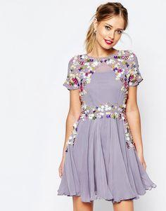 Image 1 ofASOS SALON 3D Floral Embellished Mini Skater Dress