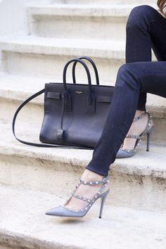 Arielle of Something Navy wearing blue jeans Valentino Rockstud Heels, Saint Laurent Handbags, Something Navy, Studded Heels, Cool Street Fashion, Street Style, Sexy Heels, Buy Shoes, Bag Accessories