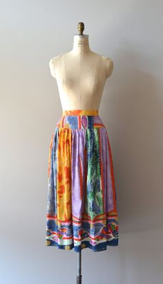 vintage silk skirt / color midi skirt / Bumba-meu-boi skirt