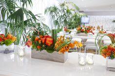 The Emmys, Centerpieces, Table Decorations, Orange Flowers, Flower Arrangements, Glass Vase, Flora, Tropical, Furniture