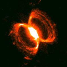 A tempestuous relationship between an unlikely pair of stars may have created an oddly shaped, gaseous nebula that resembles an hourglass nestled within an hourglass. This image shows the small nebula that is embedded in the centre of the larger one (you can see the whole nebula by searching for opo9932a in the search form).