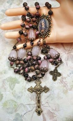 Blessed Virgin Mary Unconditional Love Rose Quartz Rhodonite Handcrafted Ornate Rosary in bronze Rosary Prayer, Praying The Rosary, Holy Rosary, Prayer Beads, Catholic Jewelry, Rosary Catholic, Blessed Virgin Mary, Rosary Beads, Love Rose