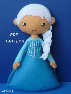 PDF sewing pattern to make the doll felt inspired Elsa (Frozen) inches tall. It is not a finished doll. Includes tutorial with pictures and step by