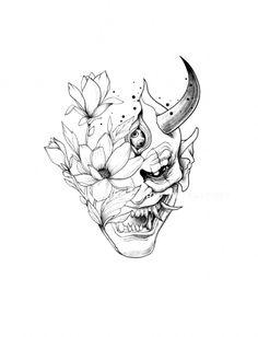Hannya tattoo Two extremes Oni Tattoo, Irezumi Tattoos, Hannya Maske Tattoo, Tatuajes Irezumi, Kunst Tattoos, Marquesan Tattoos, Body Art Tattoos, Crow Tattoos, Phoenix Tattoos