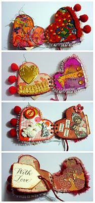 Oops, I Craft My Pants: Altered Heart Mini-Book! cute mixed media stationery paper art craft book to make as keepsake or valentines day love token gifts