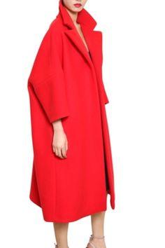 Jil Sander Wool Cashmere Soft Melton Coat in Red Red Fashion, Runway Fashion, Winter Fashion, Vintage Fashion, Fashion Outfits, Womens Fashion, Style Wish, My Style, Merian