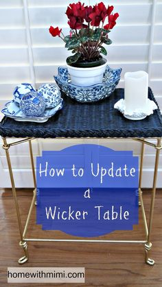 Learn how to update a wicker table to make a fashionable statement that complements your décor. I used chalk paint and metallic gold spray paint. Wicker Ottoman, Wicker Table, Wicker Furniture, Diy Projects For Adults, Painted Baskets, Do It Yourself Home, Diy Home Decor, Easy Diy, Home Improvement