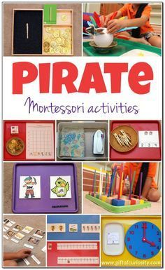 Pirate Montessori Activities: Montessori-inspired pirate activities for a pirate learning unit. My kids LOVED putting feathers onto the parrot. And check out the fun new vocabulary words kids can learn!  || Gift of Curiosity