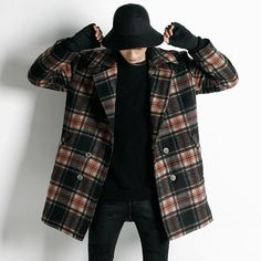 Quilted Double Breasted Check Coat