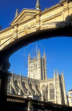 Bath Abbey. Historic stone building built using honey colored bath stone..Founded in the 7th century and rebuilt in the 12th  Bath, England