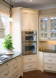 A Built-In Oven In The Corner Of A Kitchen