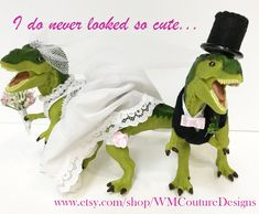 Say I do with the perfect cake topper. Great way to show your quirky side at the wedding. Quirky Wedding, Handmade Wedding, Handmade Shop, Dinosaur Wedding, Wedding Accessories, Fun Crafts, Cake Toppers, Etsy Seller, Group